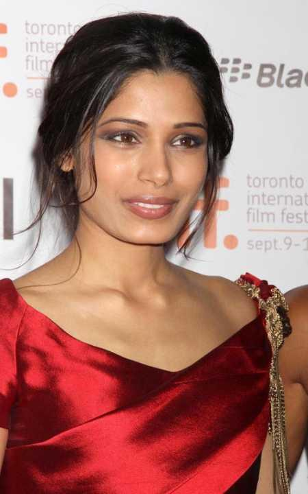 Freida Pinto Red Dress Beauty Still