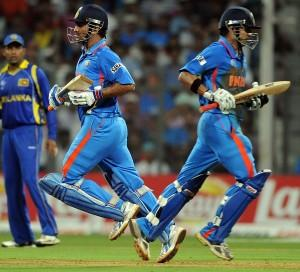 Gatam Gambhir and MS Dhoni World Cup Finals Bating Photo