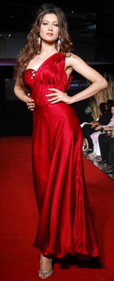 Gauhar Khan Red Dress Gorgeous Photo