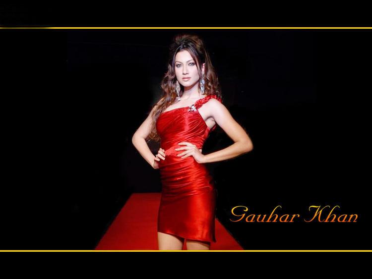 Gauhar Khan Red Mini Dress Wallpaper
