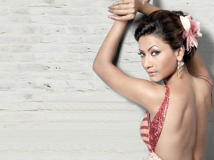 Gauhar Khan Sexy Back Exposing Wallpaper