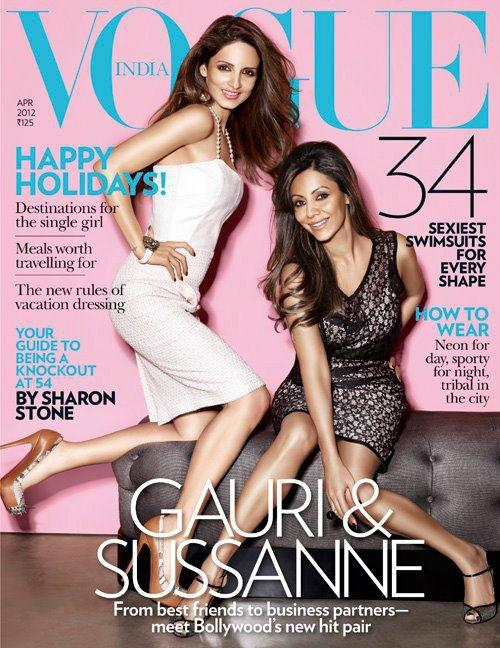 Gauri Khan and Sussanna Roshan on Vogue India April 2012