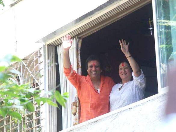 Govinda celebrating Holi Festival at His Buidling