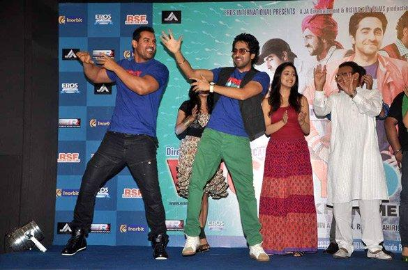John and Ayushman Dancing at Vicky Donor Music Launch