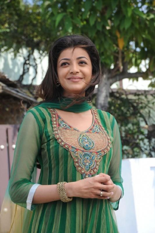 Kajal Agarwal In Green Salwarsuit Cute Smile Still