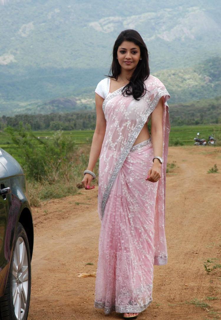 Kajal Agarwal Pink Saree Beauty Still