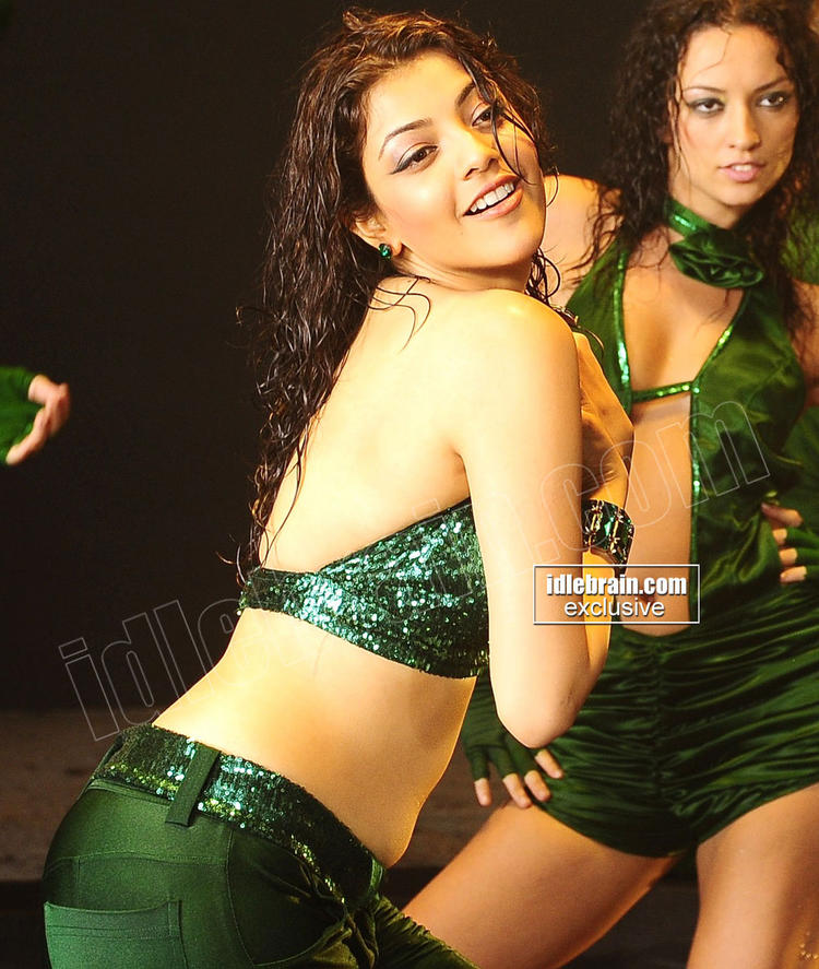 Kajal Agarwal Sexy Back Still With Green Dress