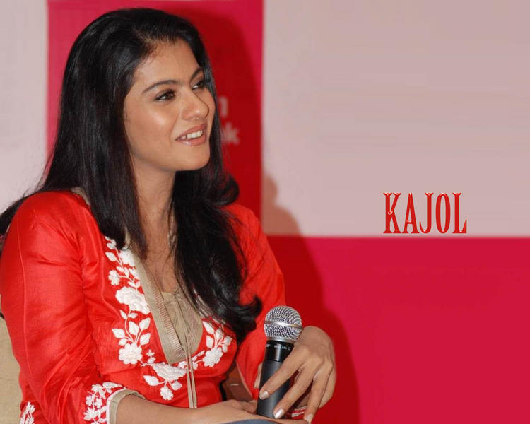 Kajol Devgan Red Dress Sweet Smile Wallpaper
