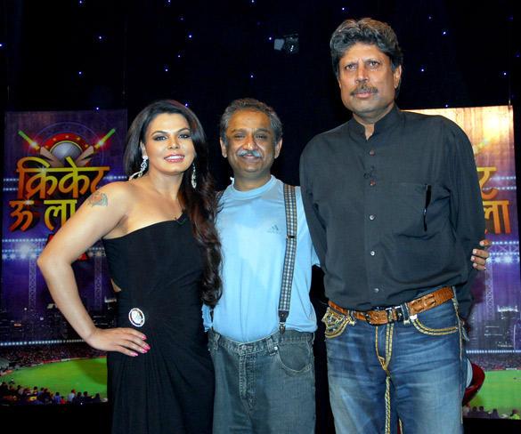 Kapil Dev,Rakhi Sawant Snapped at Cricket Show For Aajtak TV