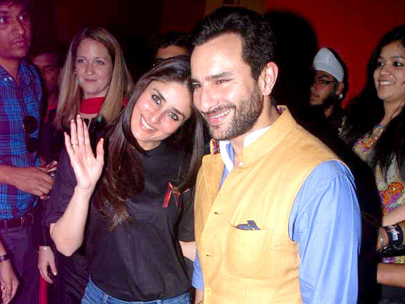 Kareena Kapoor,Saif Smilling Face at Agent Vinod Screening at PVR