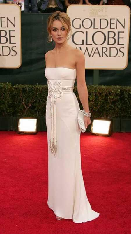 Keira Knightley In White Beautiful Gown At Golden Globe Awards