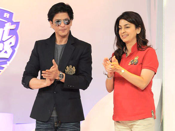 Kolkata Knight Riders owners, Juhi Chawla and Shahrukh Khan at the unveiling