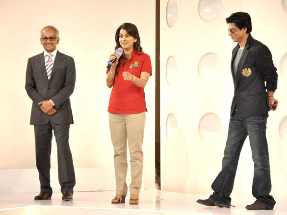 Kolkata Knight Riders owners Shah Rukh Khan and Juhi Chawla