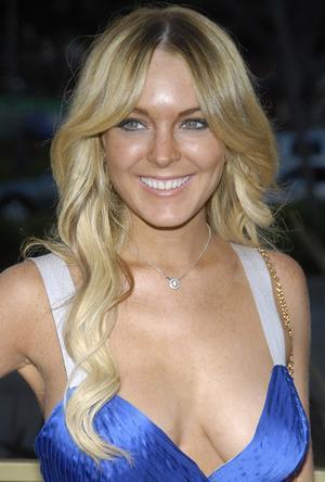 Lindsay Lohan Blue Dress Open Boob Show Pic