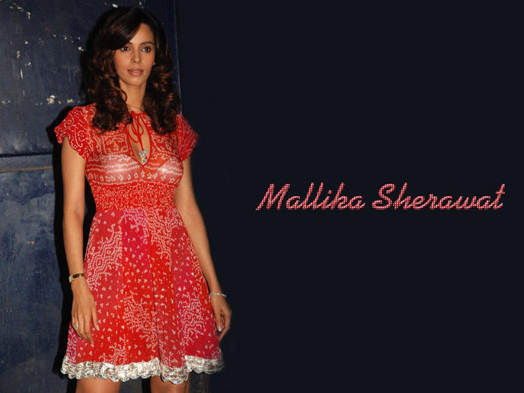 Mallika Sherawat Red Dress Wallpaper
