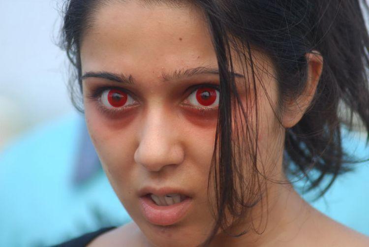 Mangala Movie Charmi Kaur Red Eyes Look
