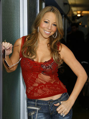 Mariah Carey Cute Photo With Red Tops and Jeans
