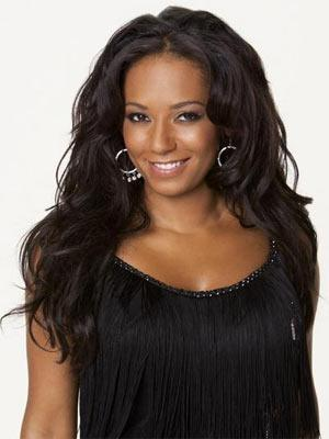 Melanie Brown Black Dress and Glamour Face Photo