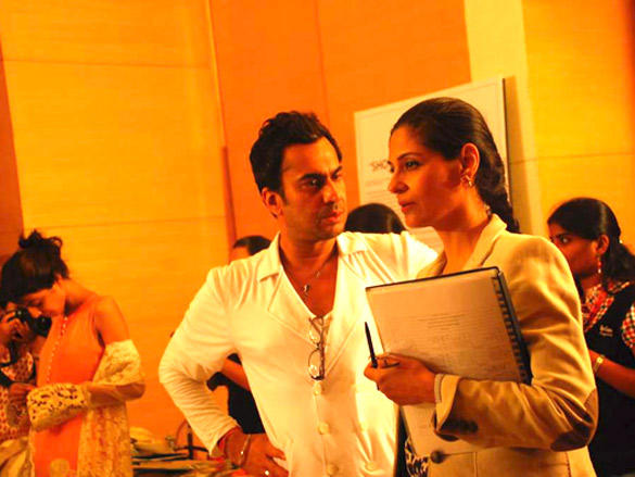 Models at Lakme Fashion Week 2012 fittings