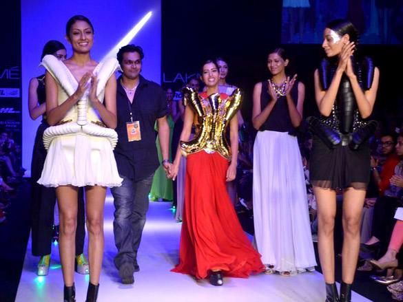 Models walk ramp for Swapnil Shinde show at Lakme Fashion Week