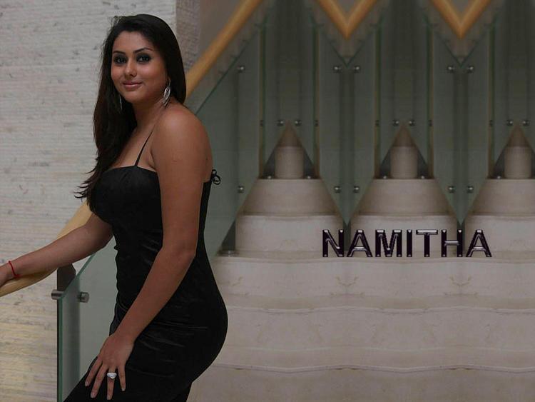 Namitha Black Dress Beauty Still