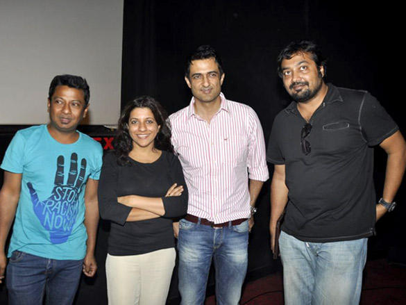Onir,Zoya,Sanjay and Anurag at the screening of The Artist