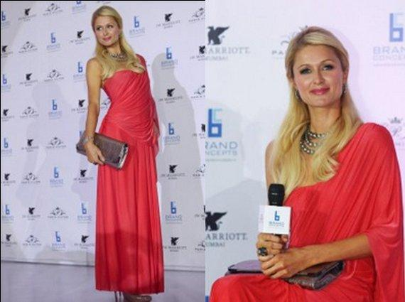 Paris Hilton Red Saree Hot Still