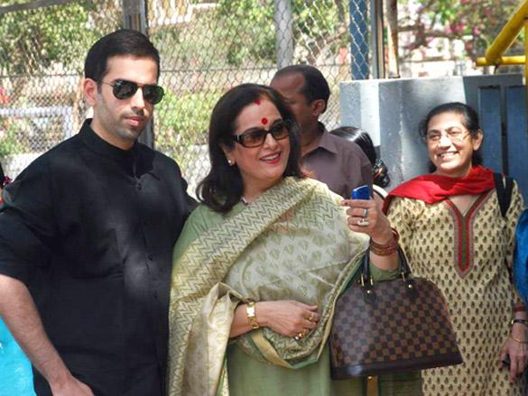 Poonam Sinha,Luv Sinha at polling center in Mumbai