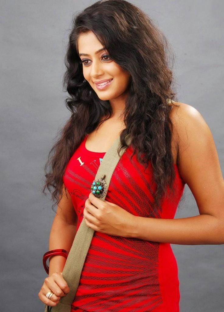Priyamani Curly Hair With Red Dress