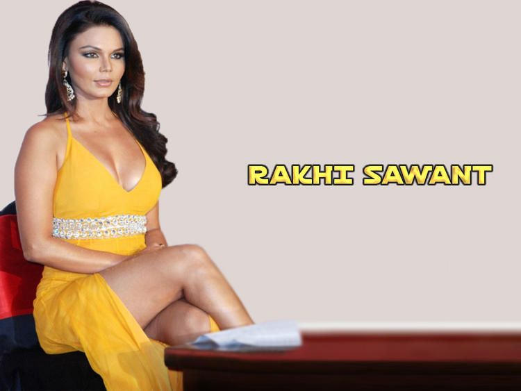 Rakhi Sawant Yellow Dress Glamour Wallpaper