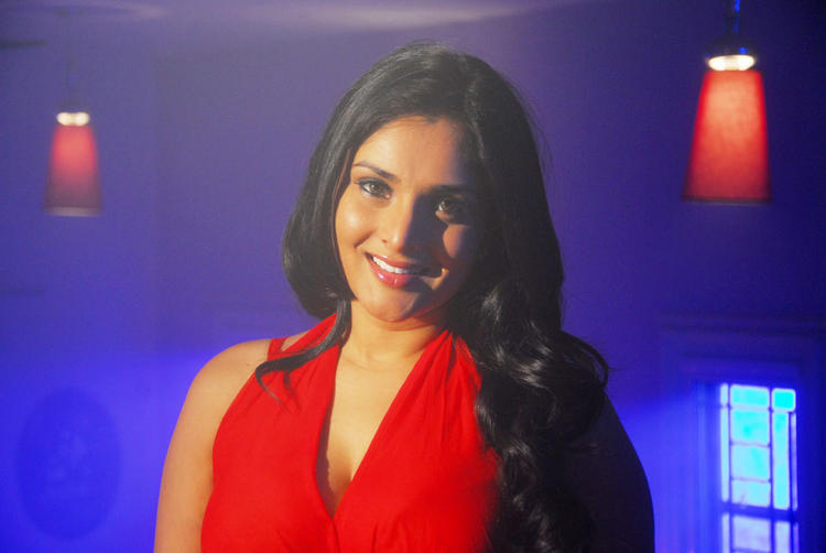 Ramya Red Dress Cute Smile Pic