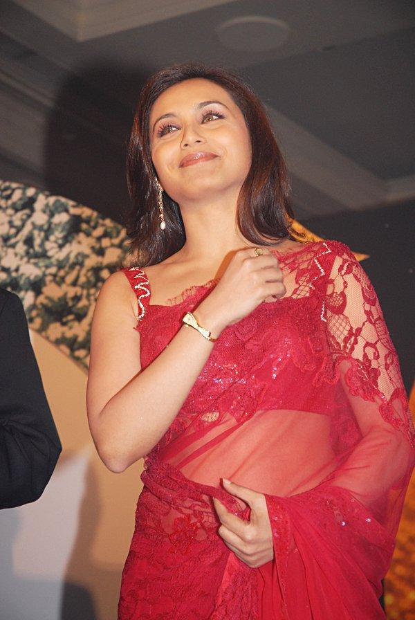 Rani Mukherjee Red Transparent Saree Pic