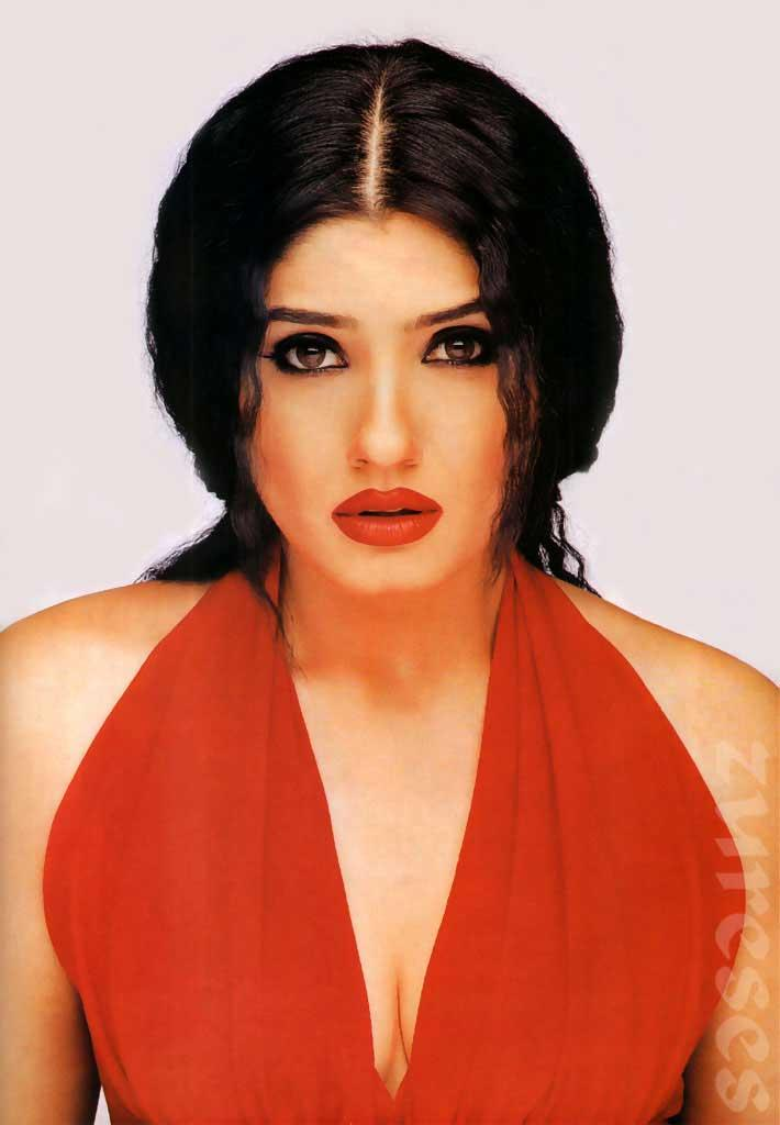 Raveena Tandon Hair Style and Red Dress Pic