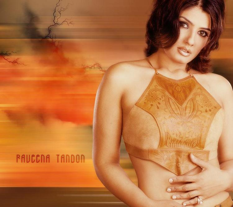 Raveena Tandon Short Tops Hot Wallpaper