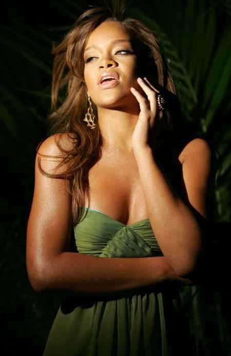 Rihanna Open Boob Pic Green Dress
