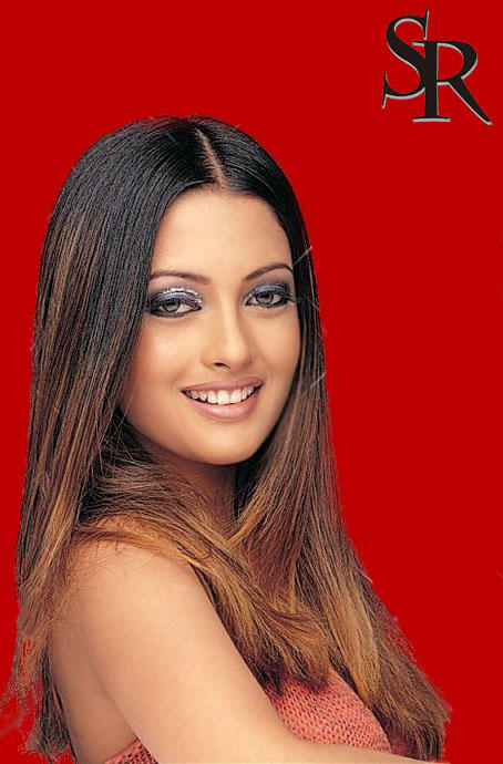 Riya Sen Red Background and Silky Hair Wallpaper