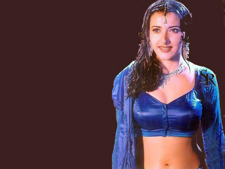 Sakshi Shivanand Sexy Navel Blue Dress Still