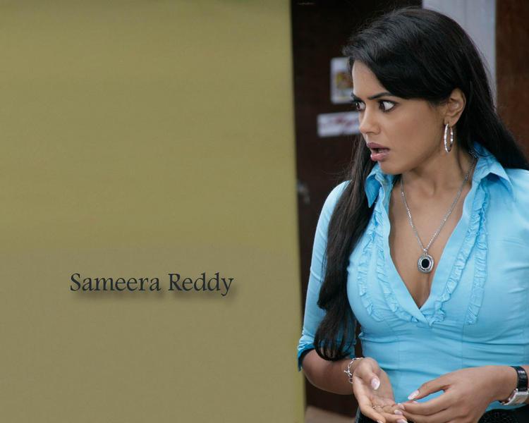 Sameera Reddy Shocked Face Look Wallpaper