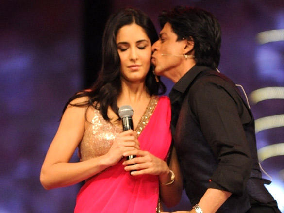 Shah Rukh Khan gives Katrina Kaif a peck on the cheek during the 18th Annual Colors Screen Awards