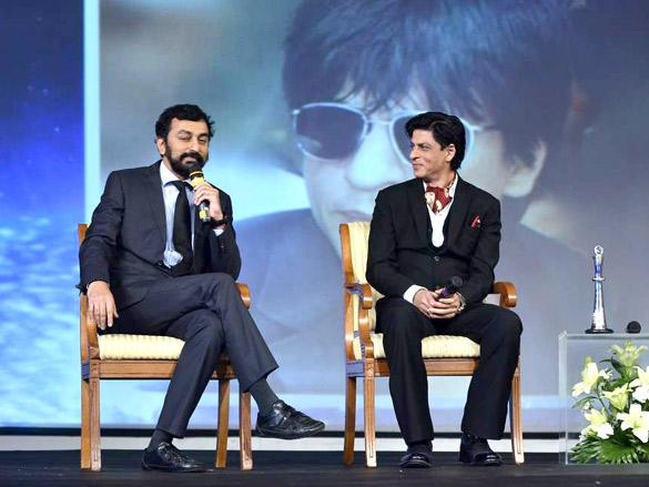 Shahrukh with Pranav Roy at NDTV Profit Business Leadership Award 2011