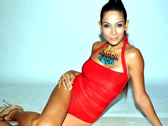 Shaurya Chauhan in Red Bikini