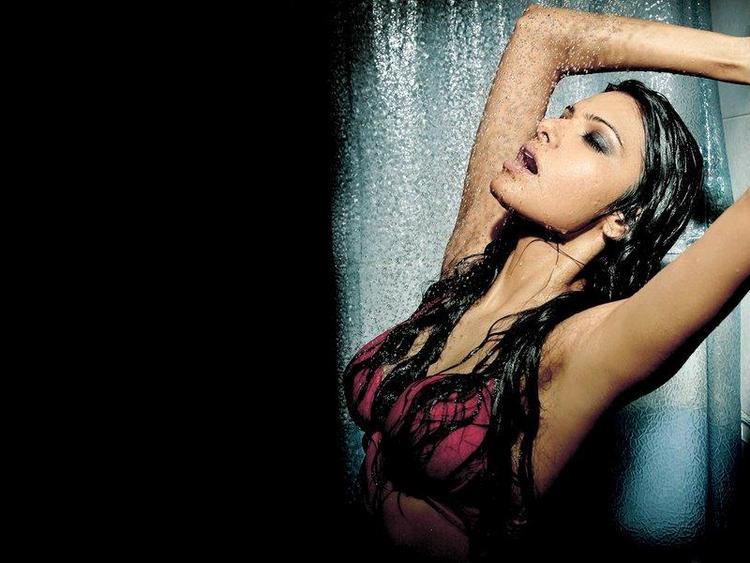 Sherlyn Chopra Bathing Wet Still