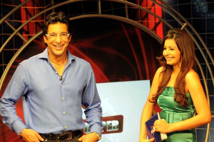 Shonali Nagrani with Wasim Akram