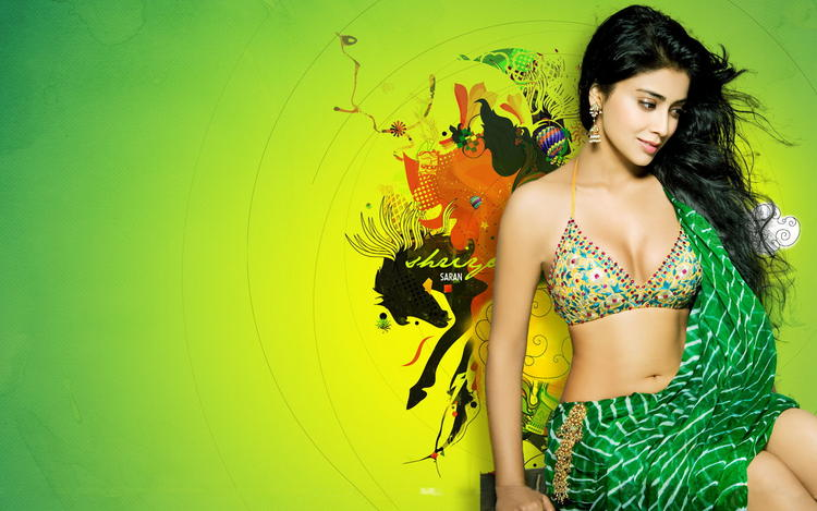 Shriya Saran Open Boob and Sexy Navel Exposing Wallpaper