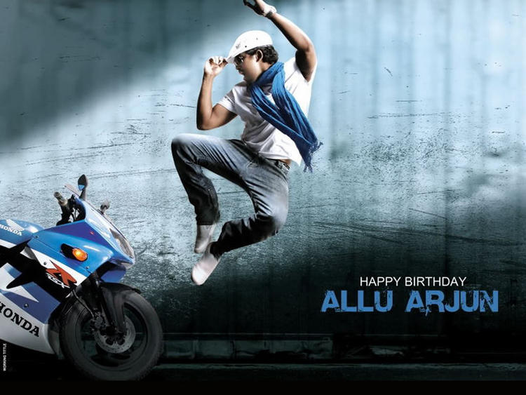 Stylist Allu Arjun Wonerful Bike Wallpaper