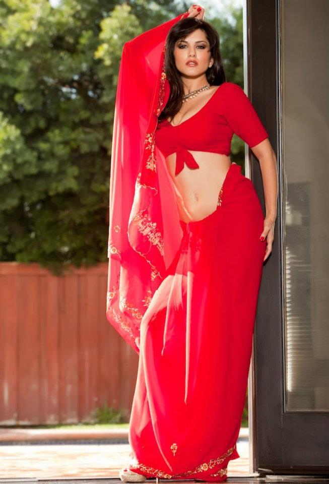 Sunny Leone Hot Red Saree Photoshoot For Jism 2 Movie