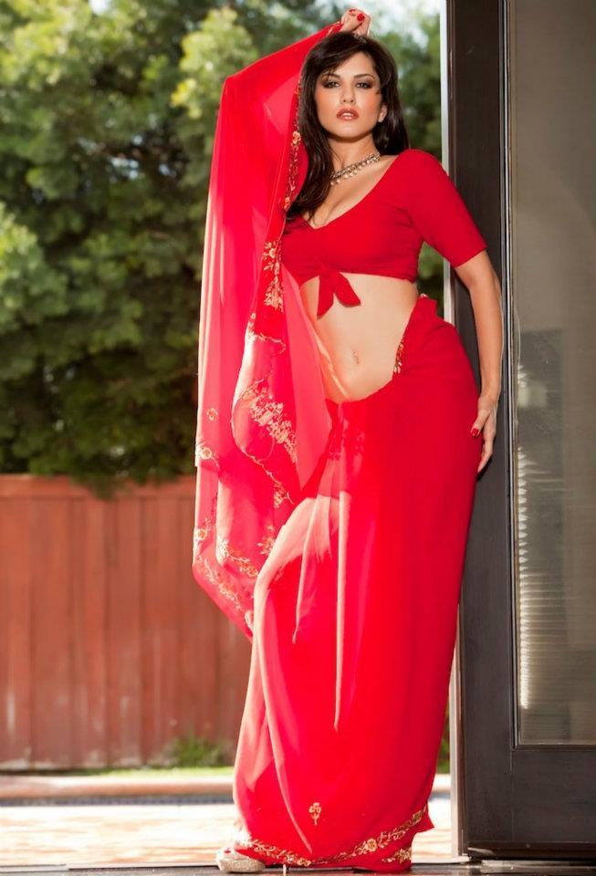 Sunny Leone Hot Red Saree Photoshoot For Jism 2 Movie