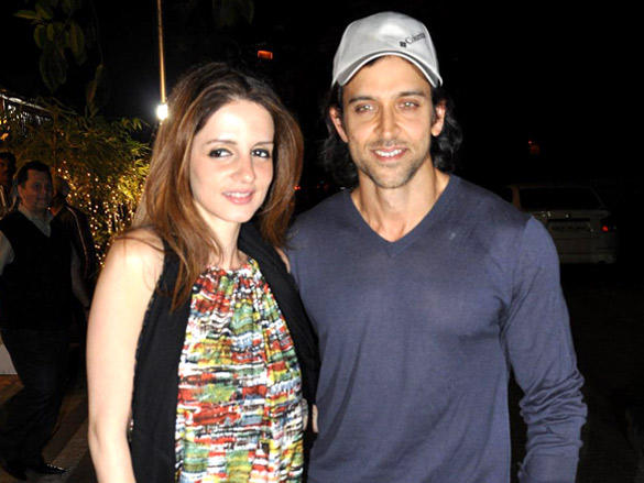Suzanne with Hrithik at Sunaina Roshan's birthday party