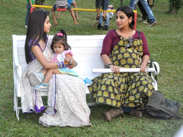 Tina Dutta,Vidya Balan on the sets of Colors channel TV serial Uttaran