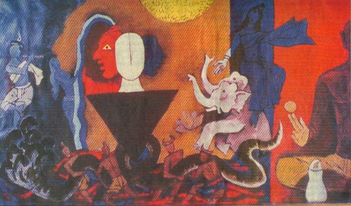 Ast Vinayak Series by artist M F Husain - Impressionism